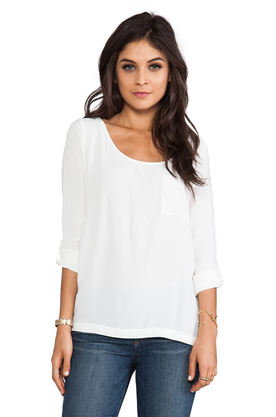 Soft Joie Wyoming Pocket Top in Porcelain