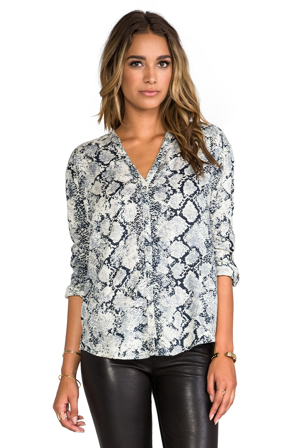 Soft Joie Dane Snake Print Blouse in Stonewash