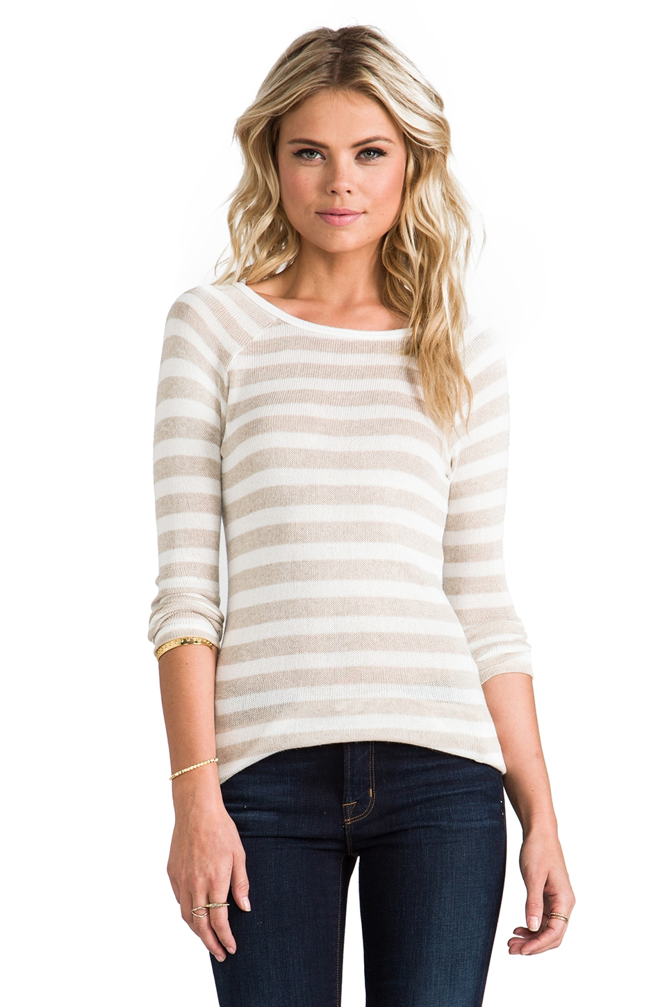Soft Joie Dayla Stripe Top in Natural/Porcelain
