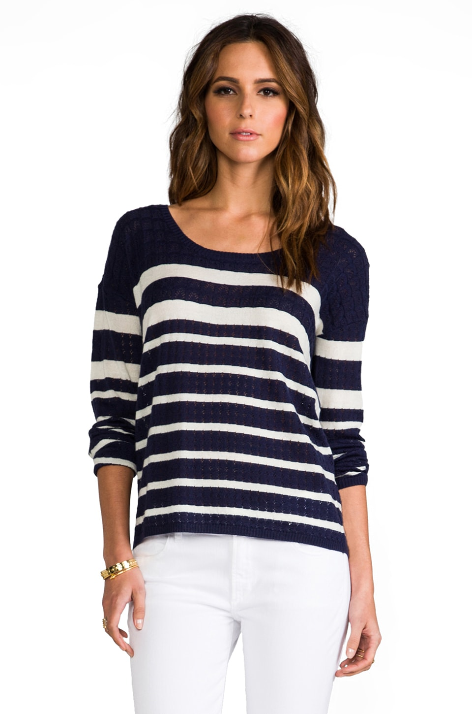 Soft Joie Bravo Long Sleeve Tee in Estate Blue Porcelain Stripe