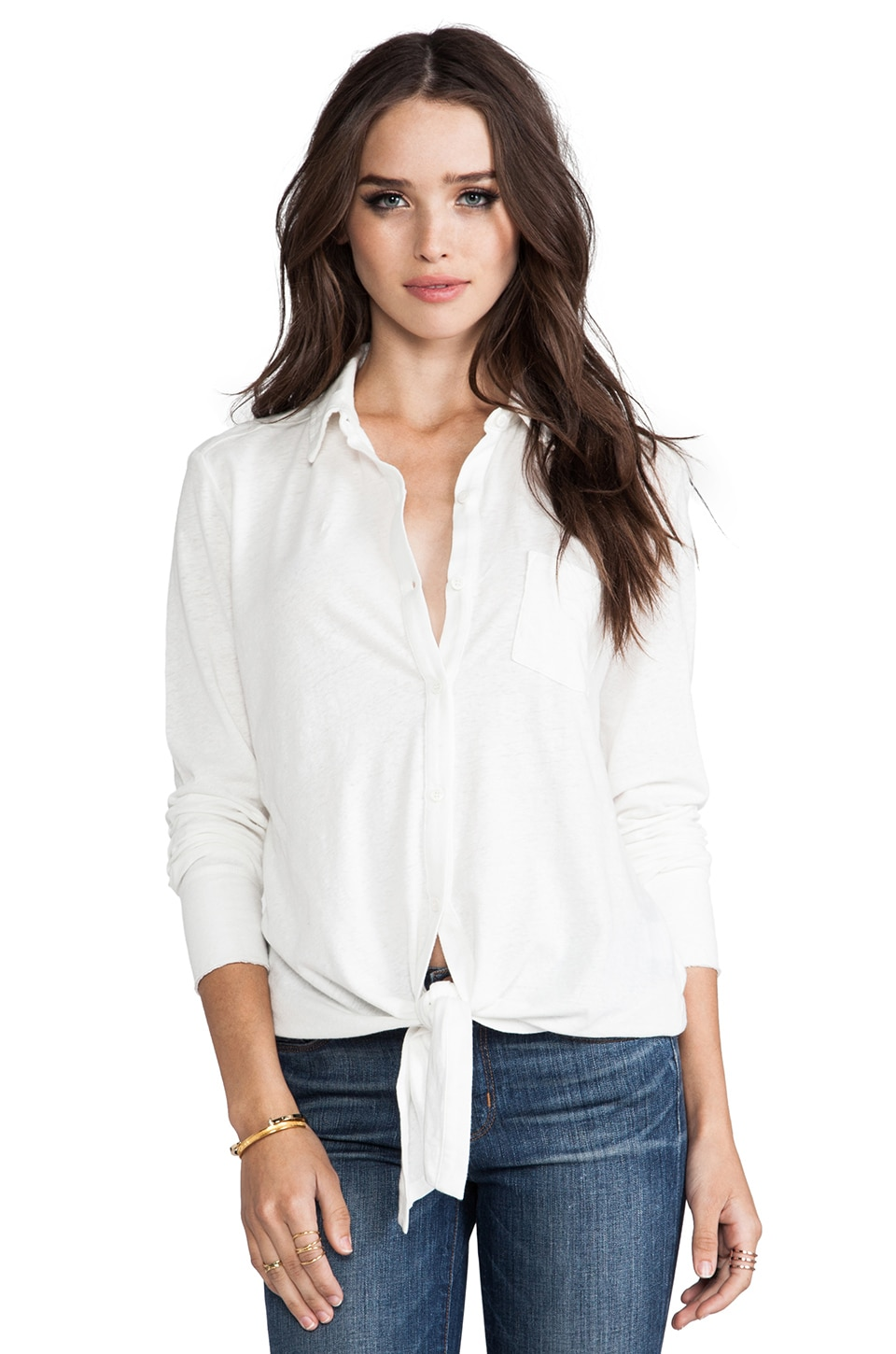 Soft Joie Macyn Front Tie Top in Porcelain