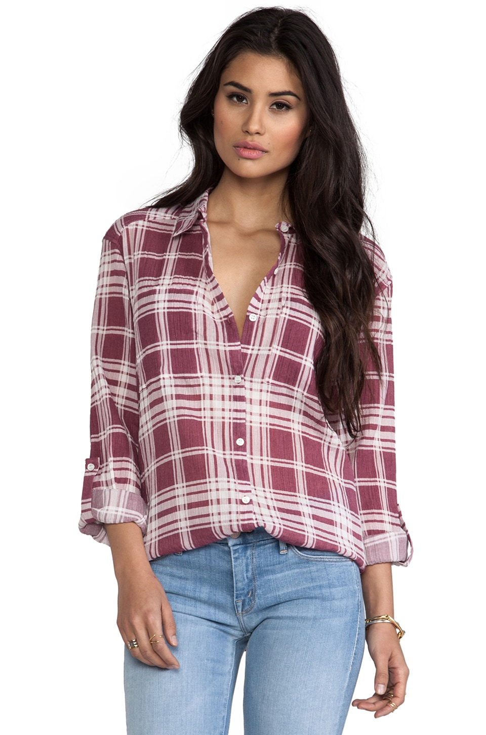Soft Joie Lieutenant Top in Dry Raspberry