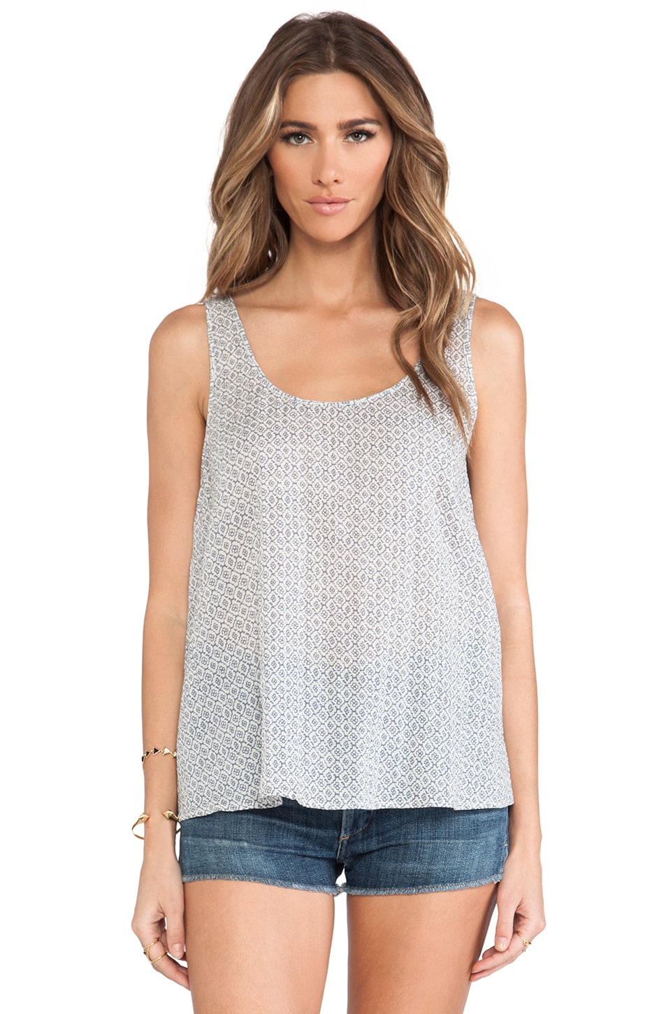 Soft Joie Jummy Tank in Off Porcelain & Dusty Blue
