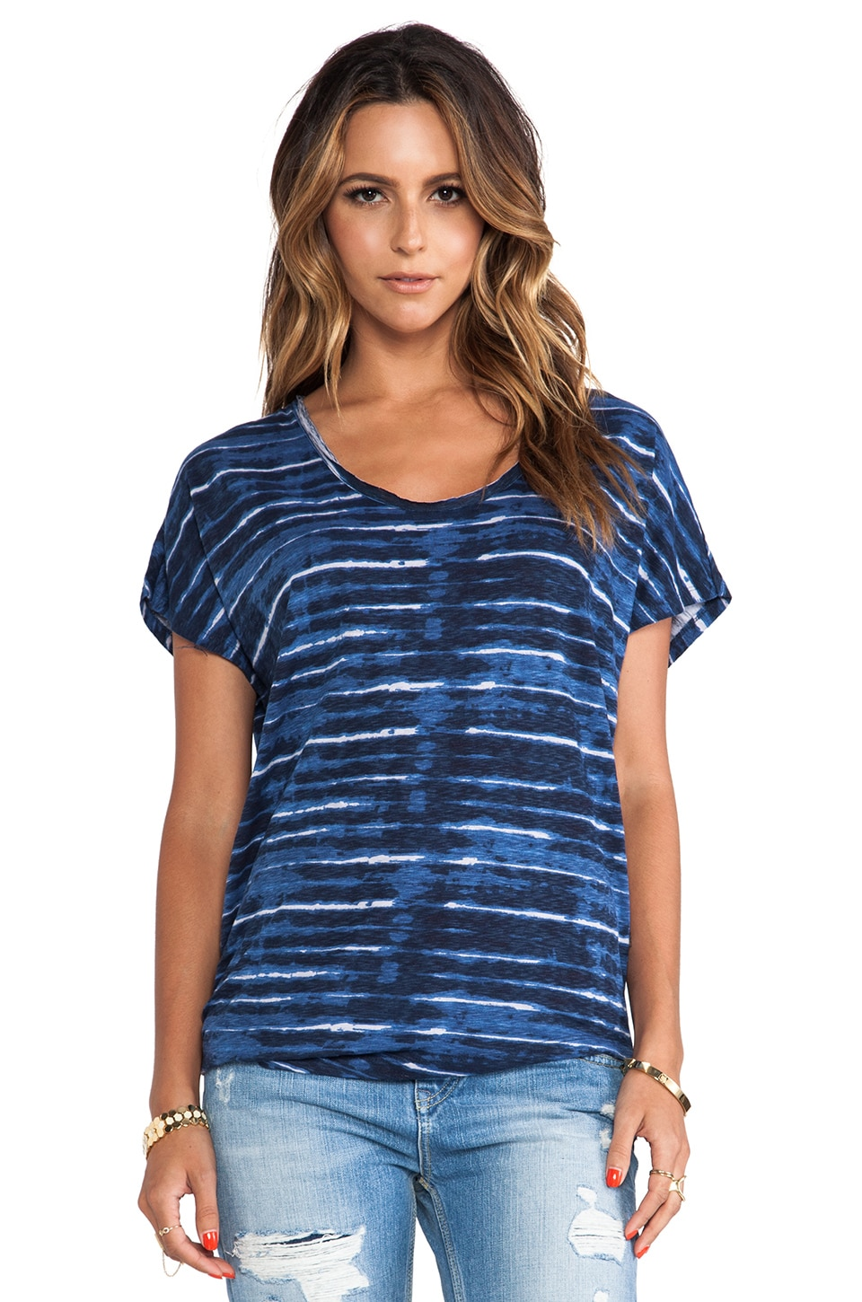 Soft Joie Diamind B Top in Indigo Blue & Eggshell
