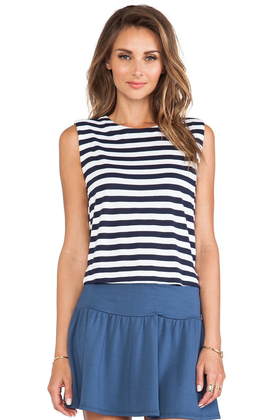 Soft Joie Aarika Crop Tank in Dark Denim & Porcelain