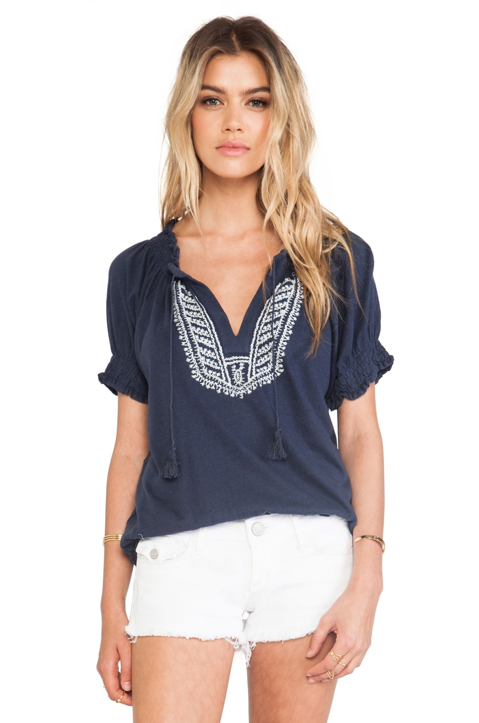 Soft Joie Harmony Blouse in Dark Denim & Porcelain