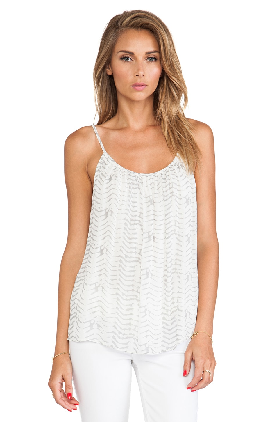 Soft Joie Diya Cami Tank in Antique White & Dark Ash Grey
