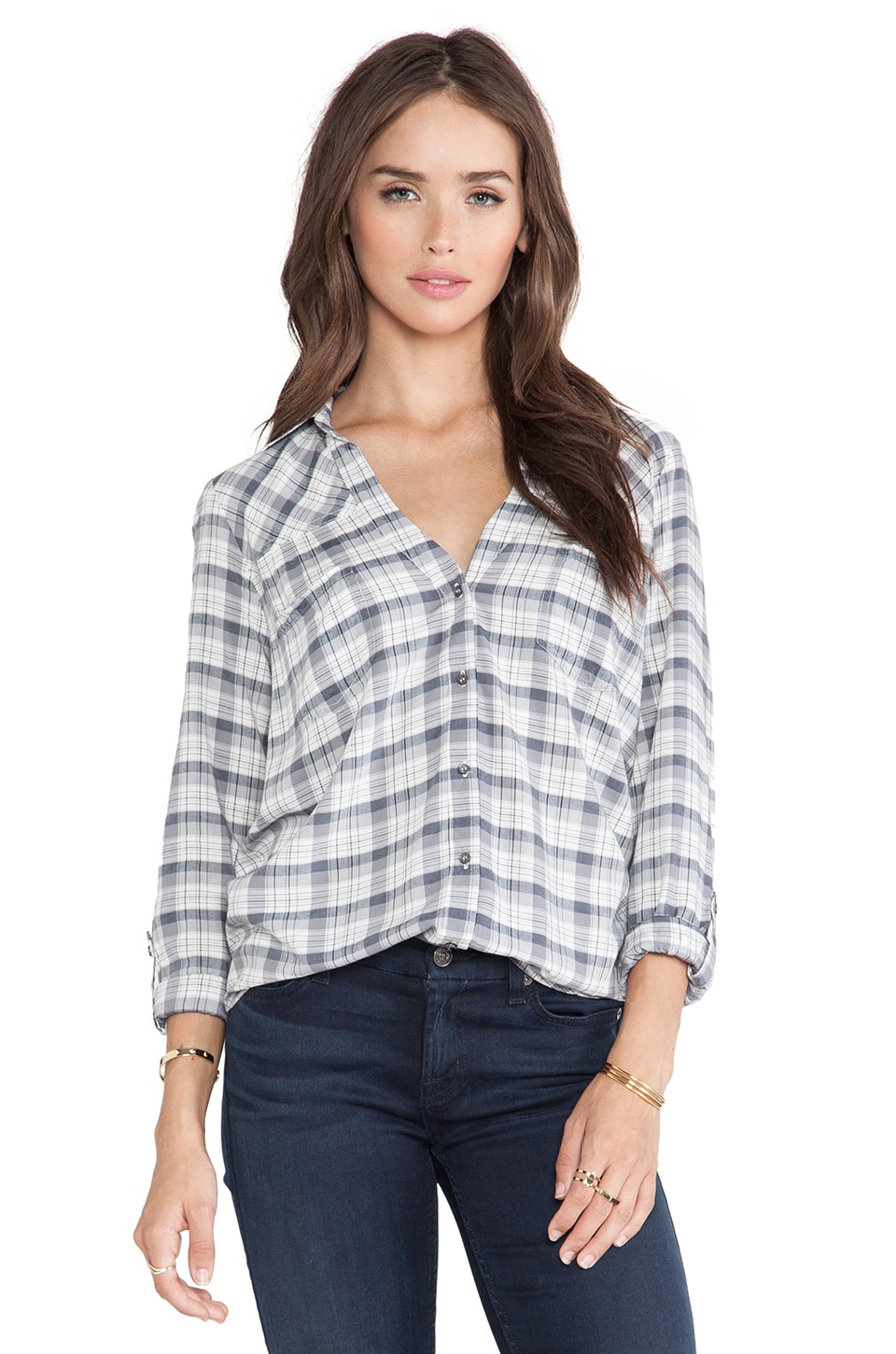 Soft Joie Brady Top in Indigo & Grey