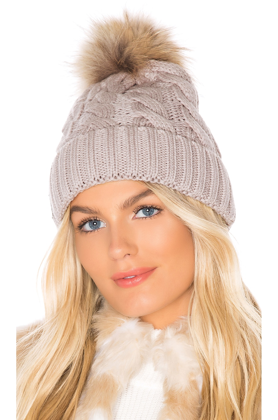 Soia & Kyo Amalie Beanie With Fur Pom in Quartz