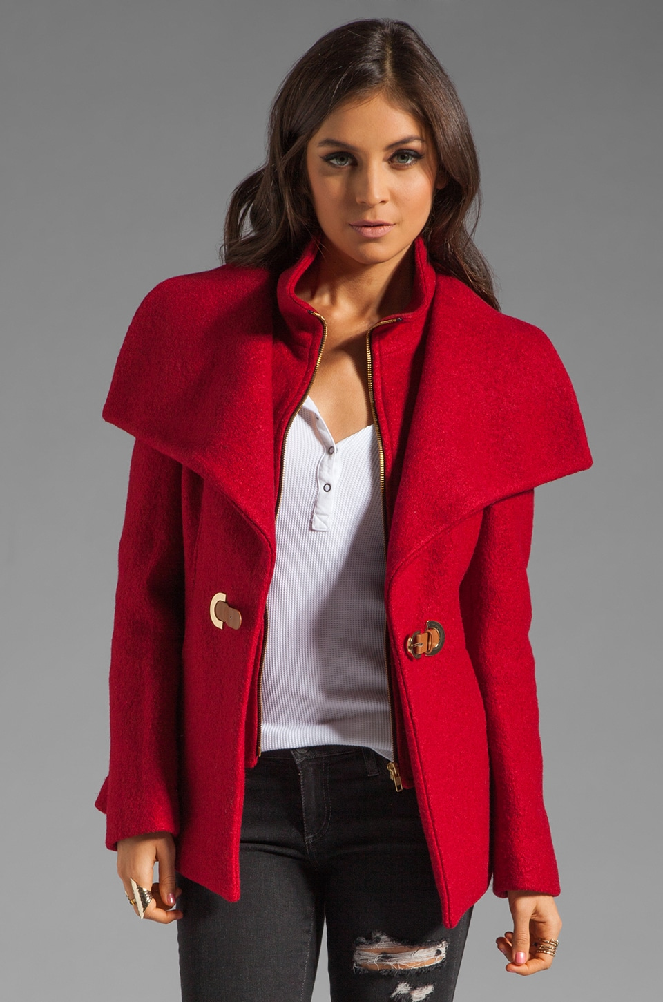 Soia & Kyo Bold Wool Verona Jacket in Red