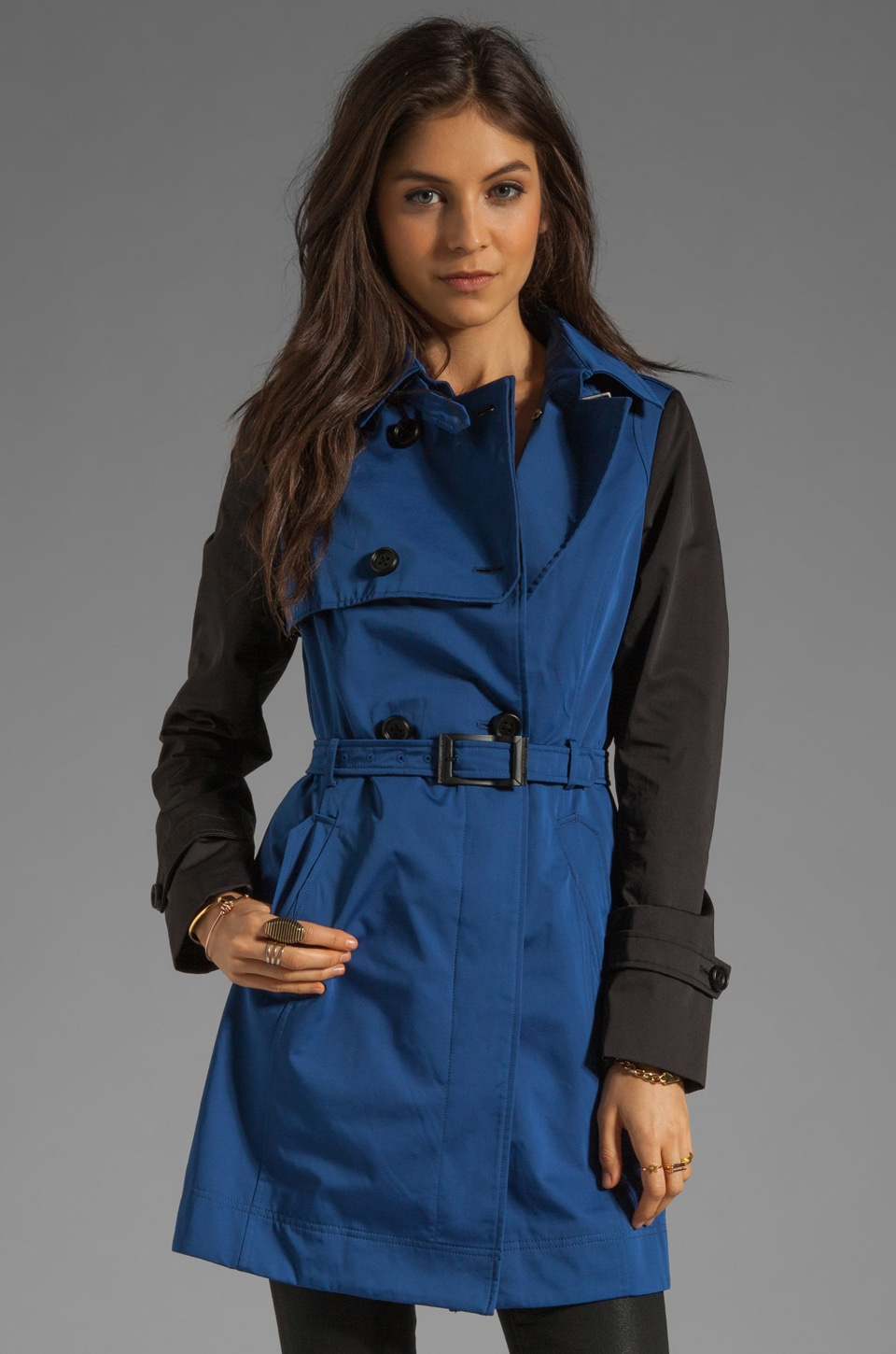 Soia & Kyo Adelle Trench Jacket in Blue