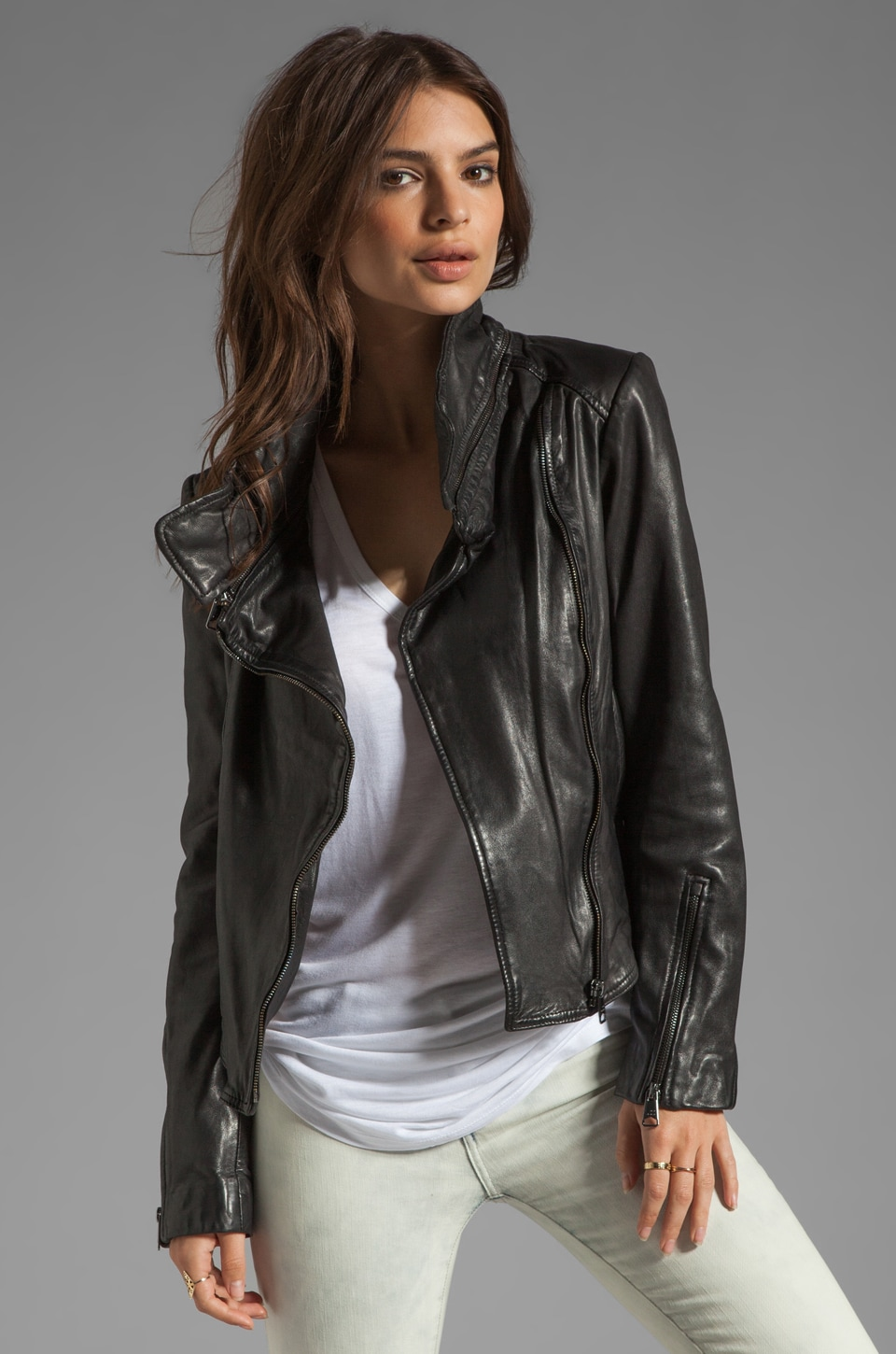 Soia & Kyo Glenna Leather Jacket in Black