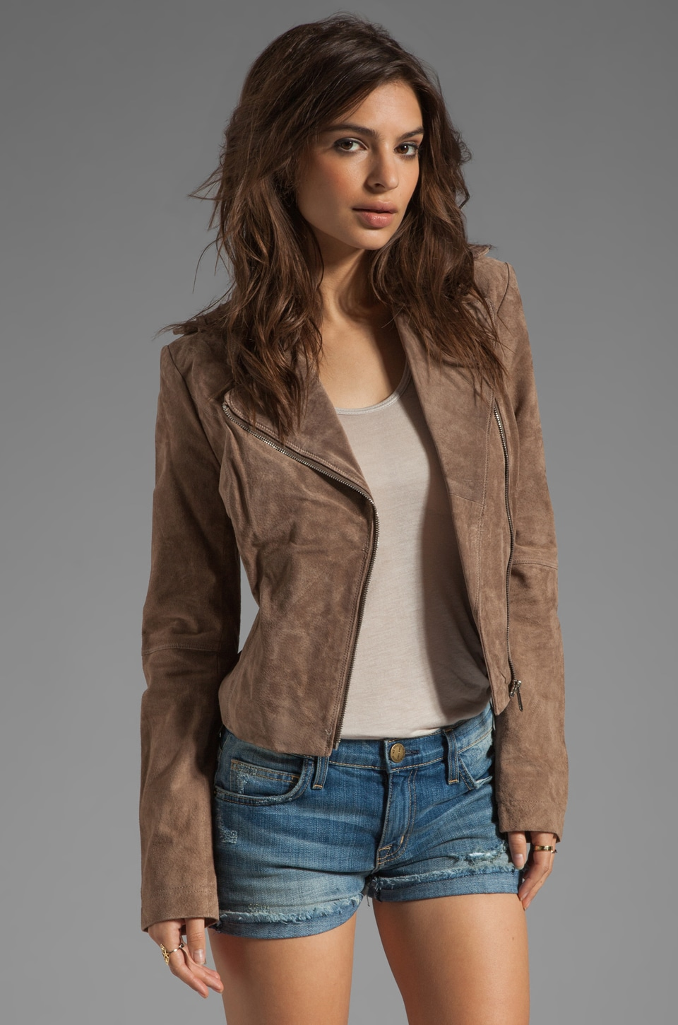 Soia & Kyo Lizzie Suede Leather Jacket in Taupe