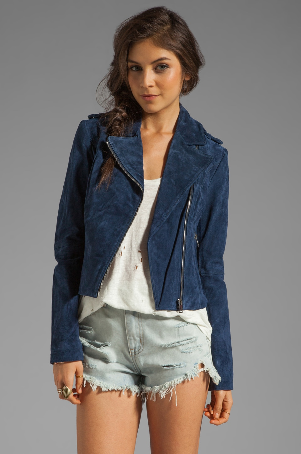 Soia & Kyo Lizzie Suede Leather Jacket in Blue
