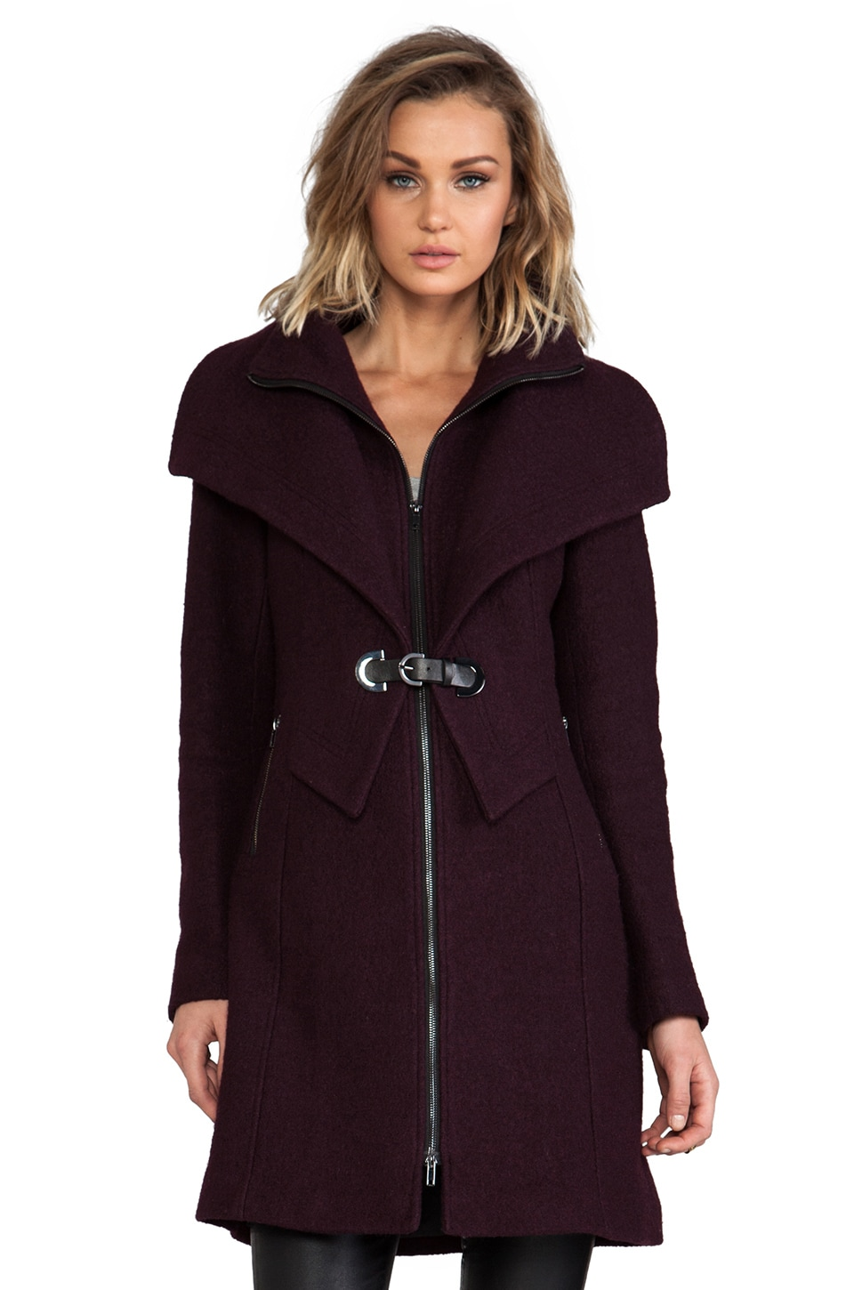 Soia & Kyo Fiala Wool Coat in Wine
