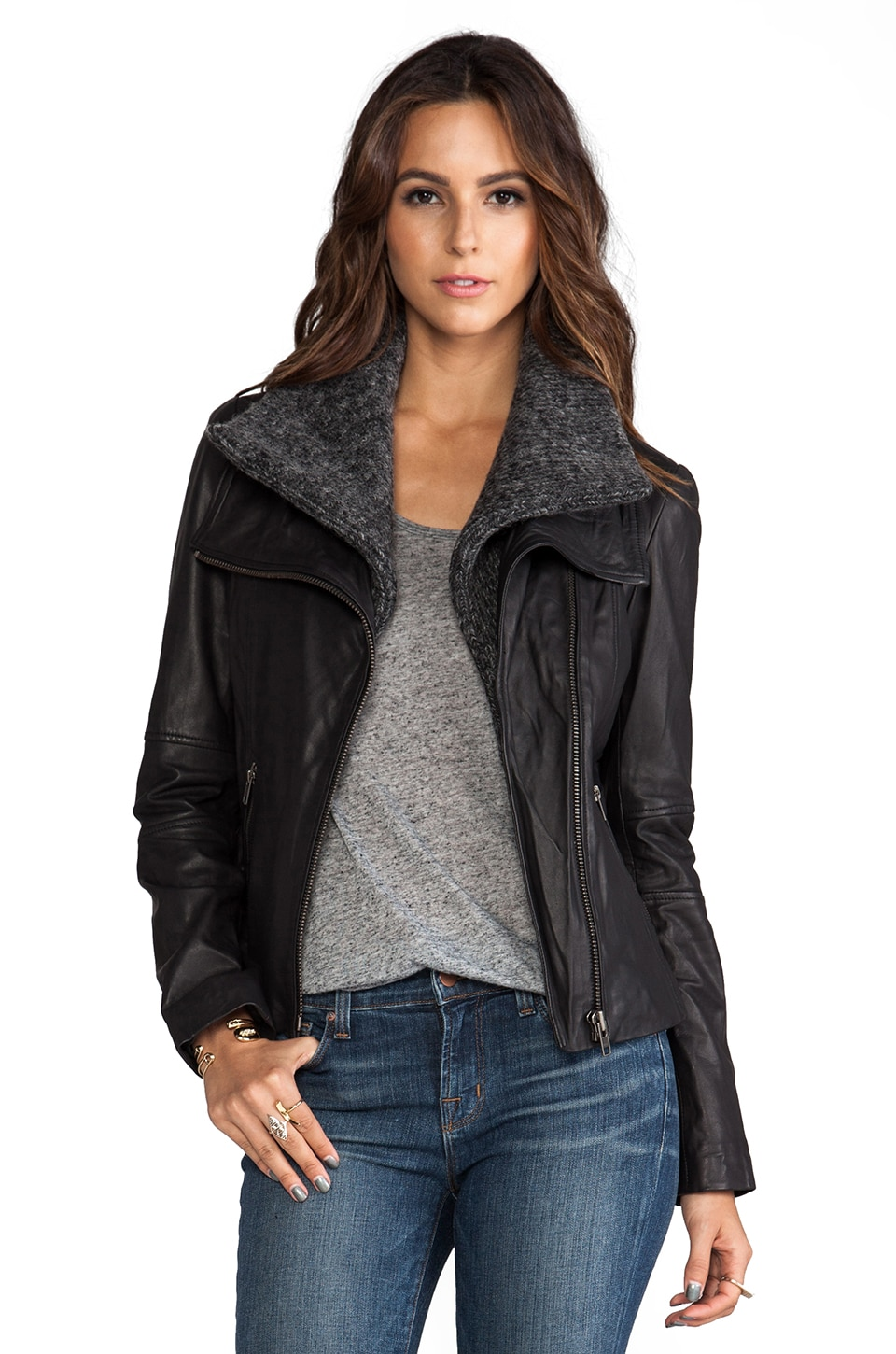 Soia & Kyo Donia Leather Jacket in Black