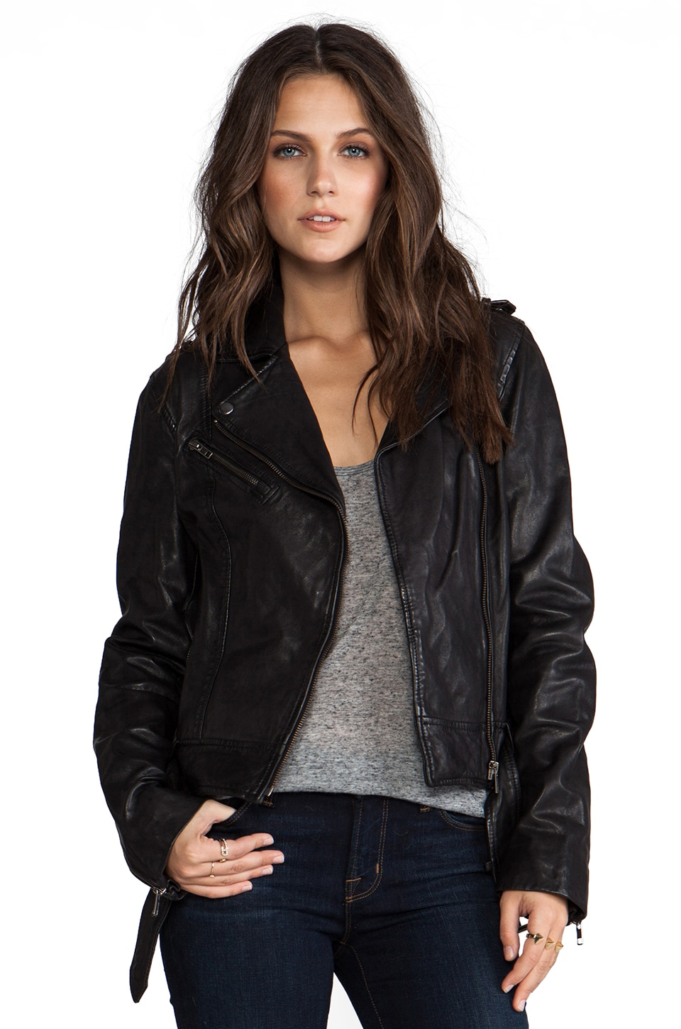 Soia & Kyo Janelle Leather Jacket in Black
