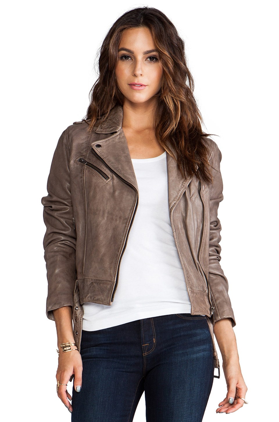 Soia & Kyo Janelle Leather Jacket in Stone