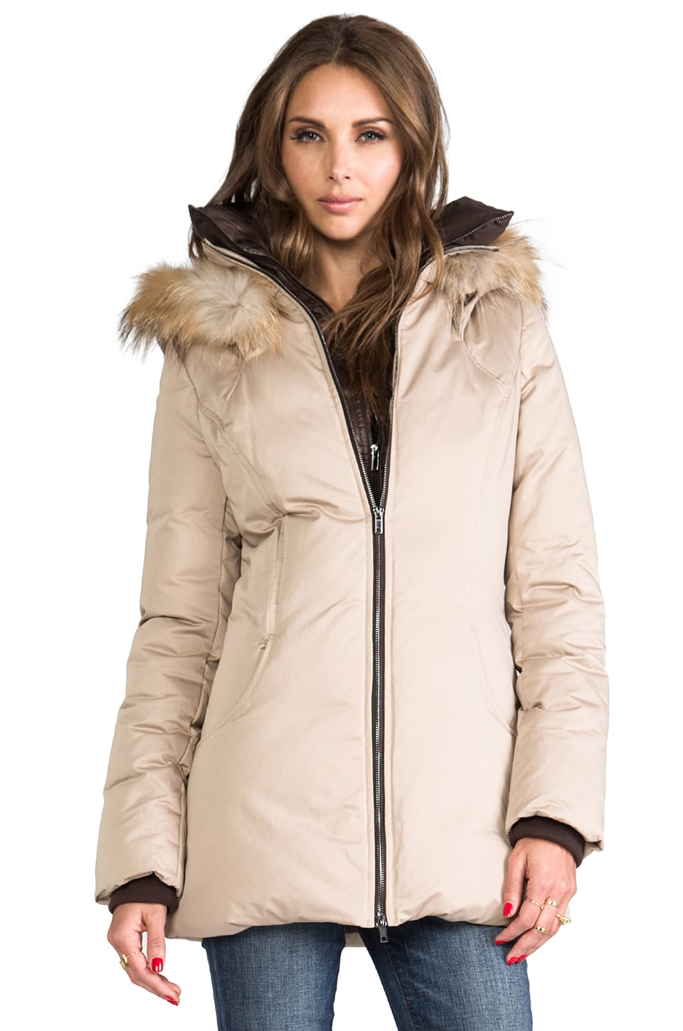 Soia & Kyo Clea Down Coat with Removable Fur Hood in Sand