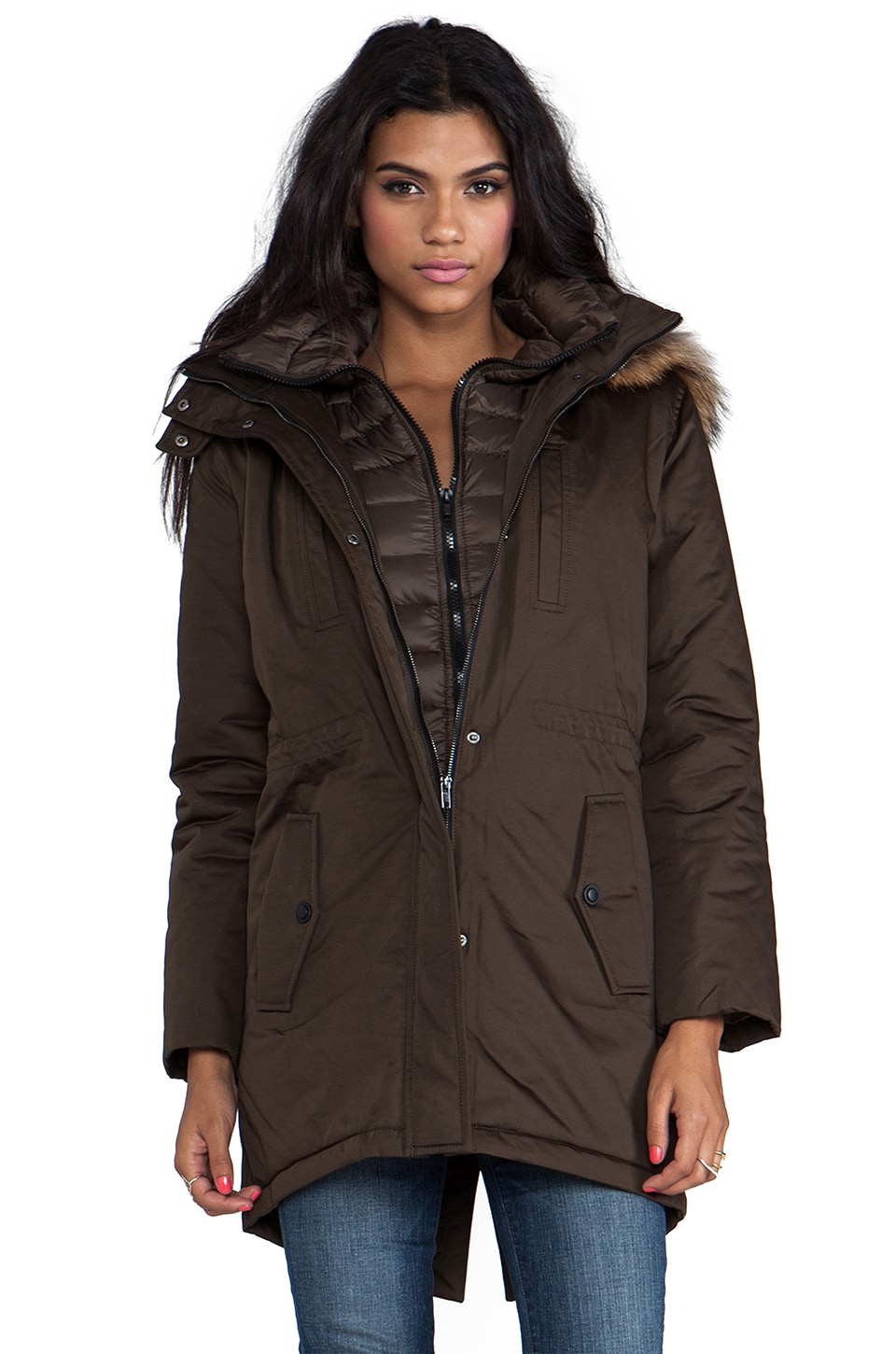 Soia & Kyo Elora Down Coat with Removable Fur Hood in Military