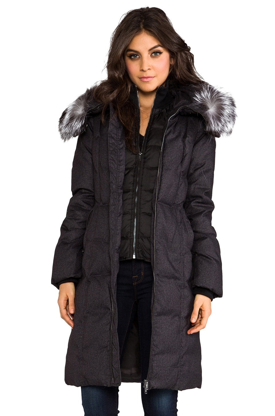 Soia & Kyo Liv Down Coat with Removable Fur Hood in Grey