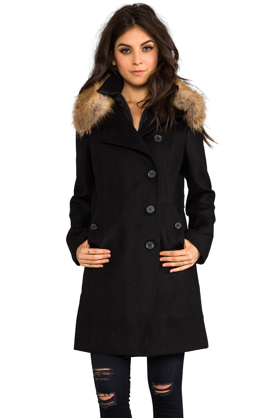 Soia & Kyo Reiko Removable Fur Trim Wool Coat in Black