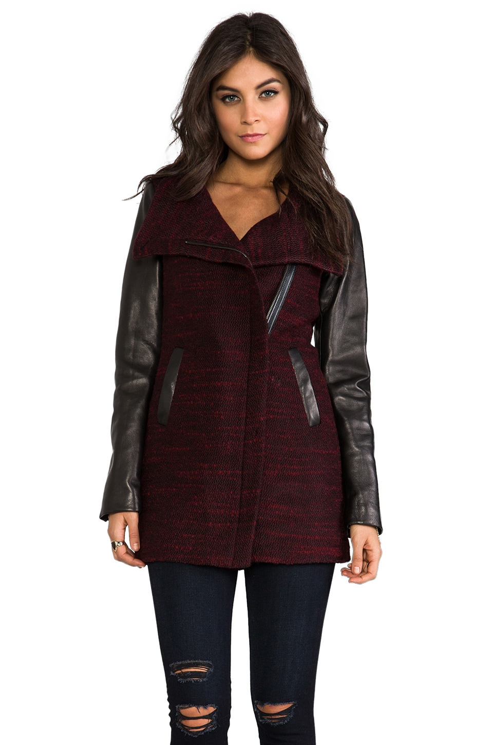 Soia & Kyo Leilani Wool Coat in Burgundy