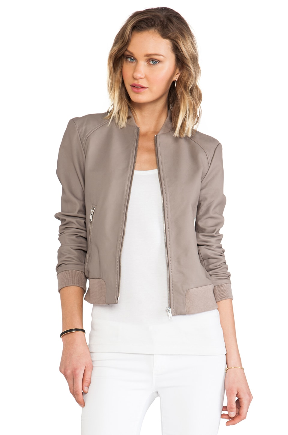 Soia & Kyo Nyla Leather Bomber Jacket in Mushroom