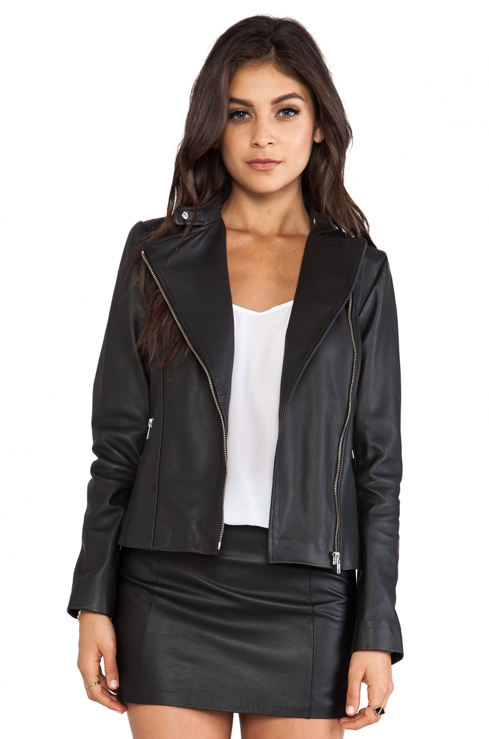 Soia & Kyo Dree Leather Moto Jacket in Black