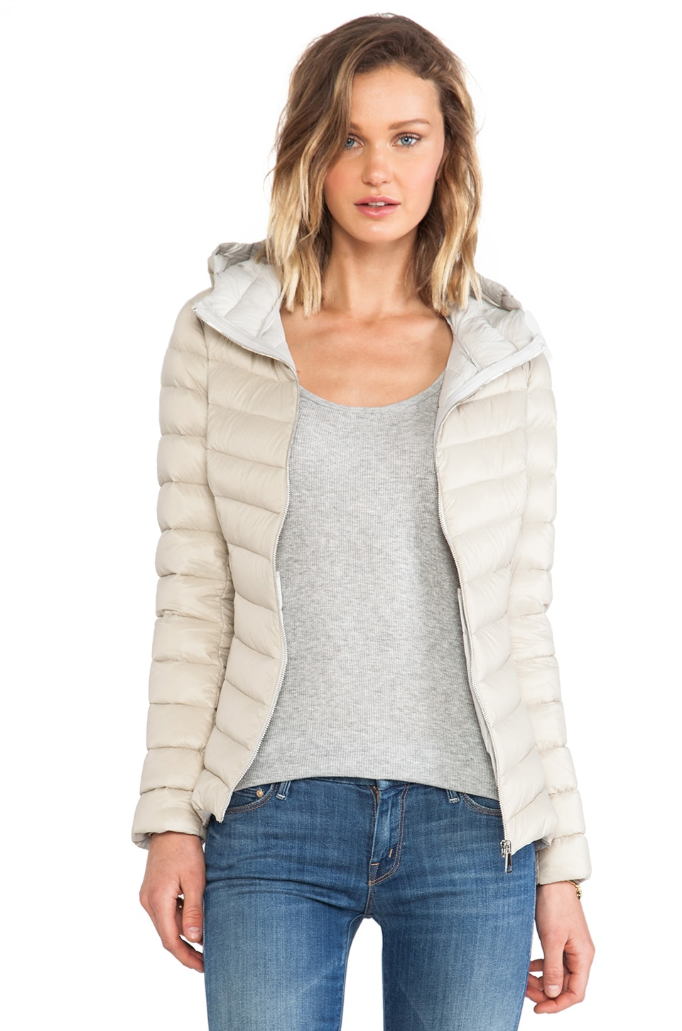 Soia & Kyo Elfy Lightweight Down Jacket in Oatmeal