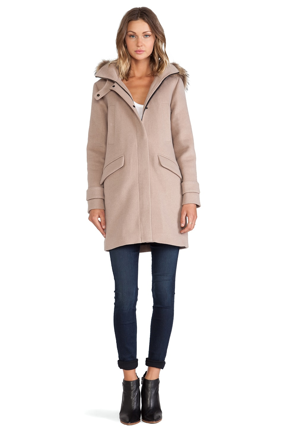 Soia & Kyo Annick Classic Wool Coat with Fur Trim in Nude