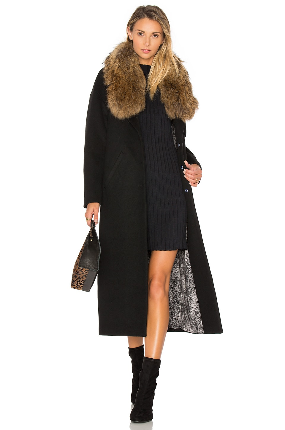 Soia & Kyo Chanelle Coat with Asiatic Raccoon Fur Trim in Black