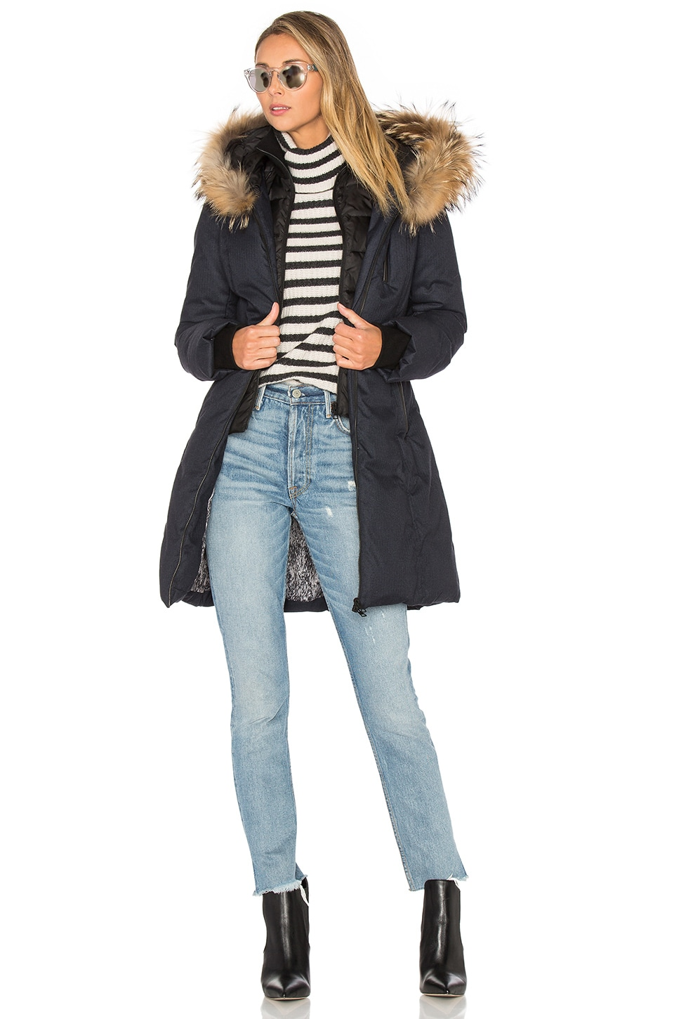 Soia & Kyo Chrissy Coat with Asiatic Raccoon Fur Trim in Night