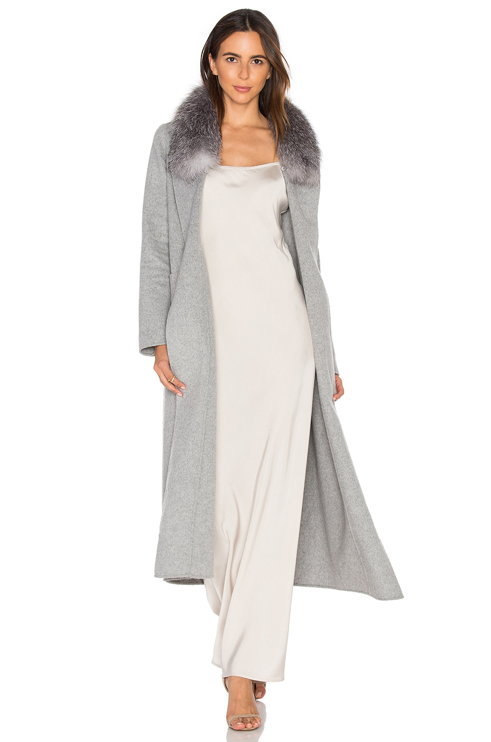 Soia & Kyo Daphne Coat with Silver Fox Fur Trim in Ash