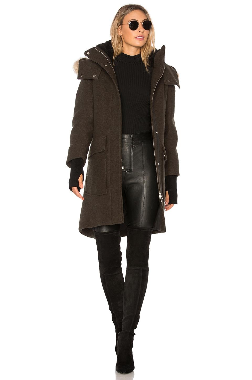 Soia & Kyo Karine Coyote Fur Trimmed Wool Coat in Army | REVOLVE
