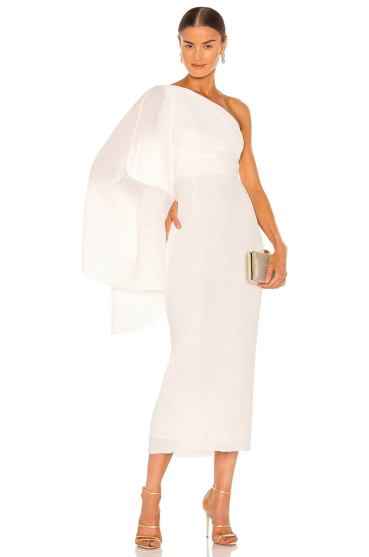 SOLACE London Lenna Midi Dress in Winter White