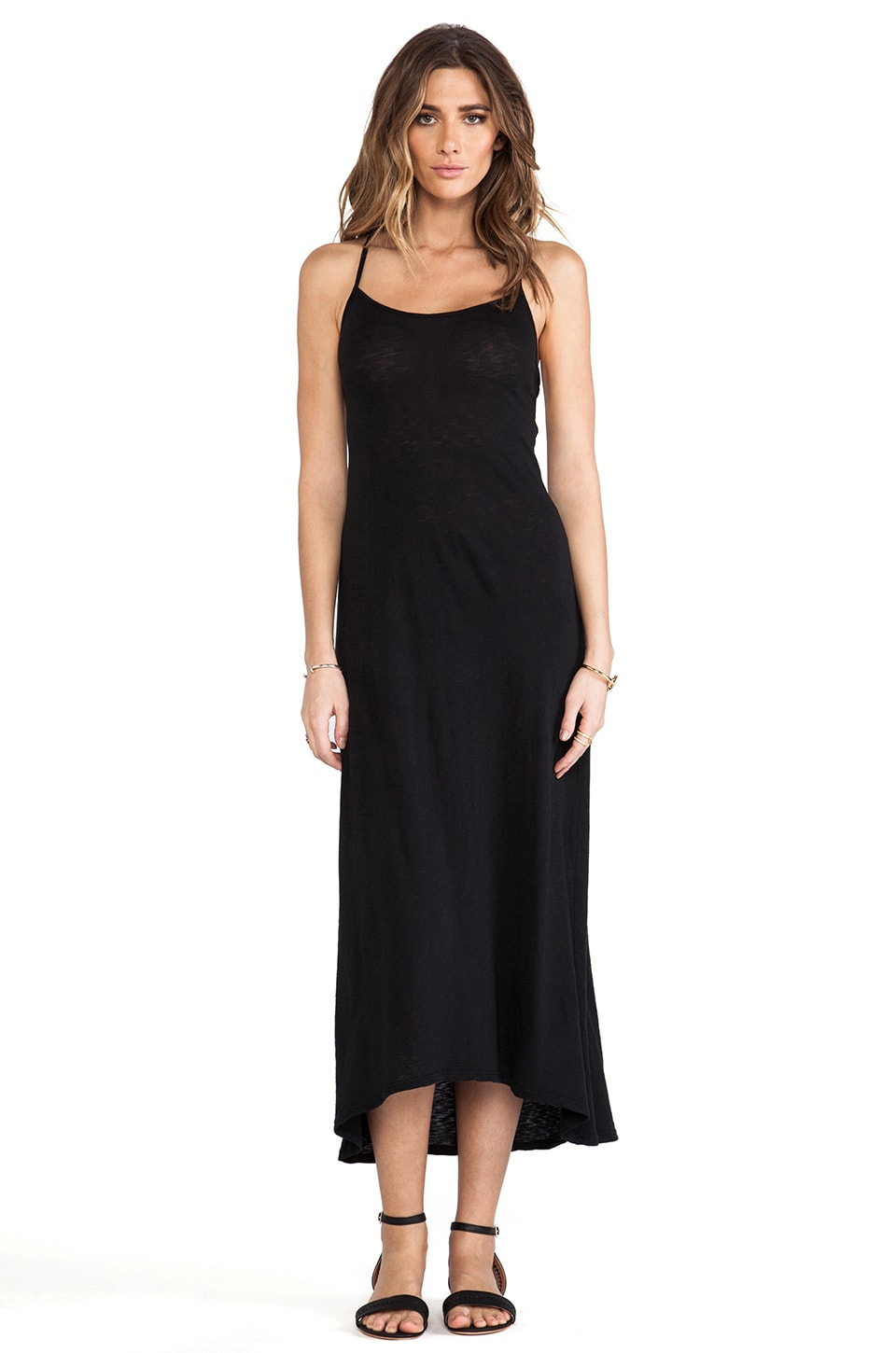 SOLOW Dropped Armhole Maxi Dress in Black