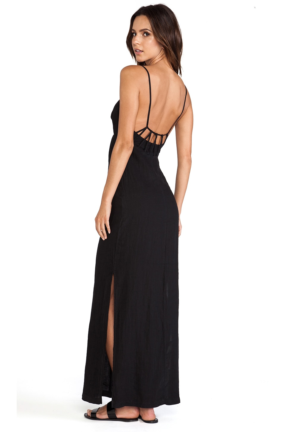 SOLOW So Low Loop Back Maxi Dress in Black