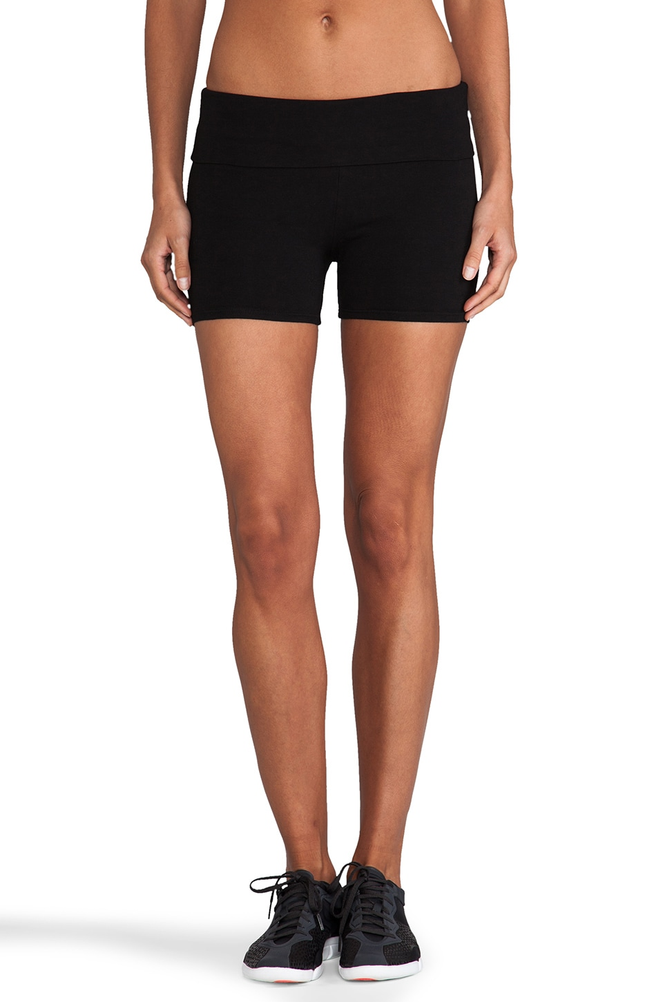 SOLOW Fold Over Yoga Shorts in Black