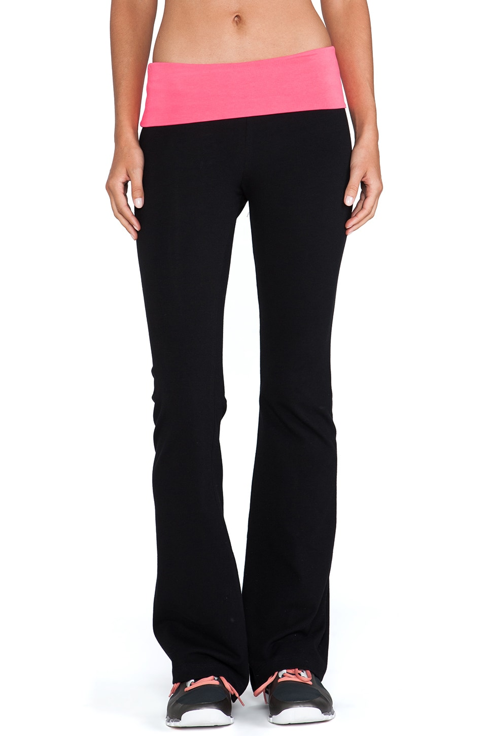 SOLOW Contrast Fold Over Pant in Black & Electric