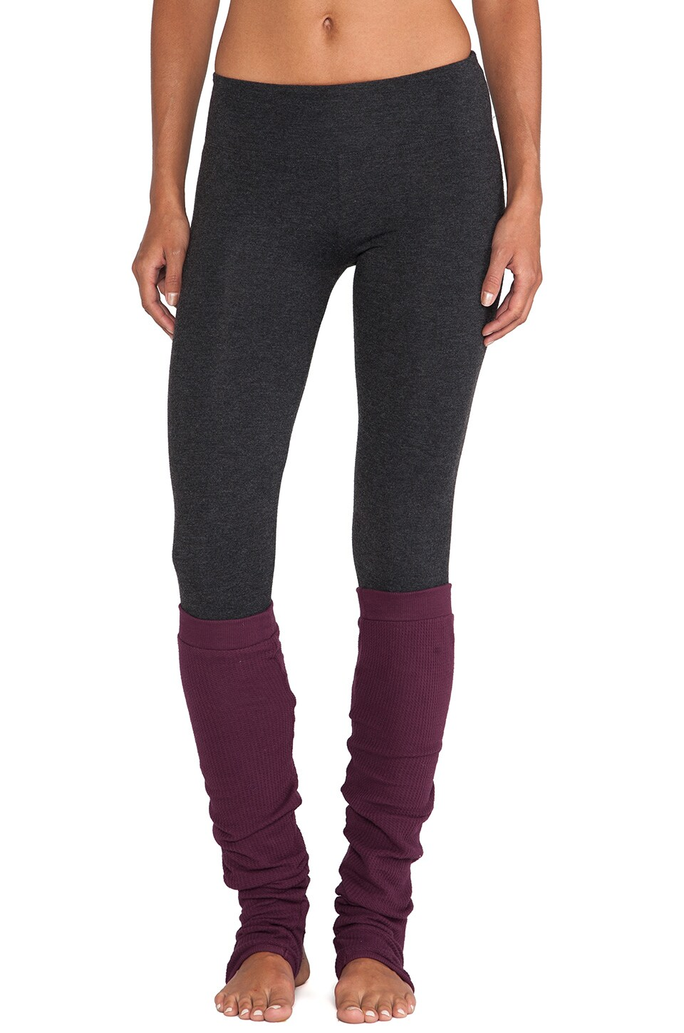 SOLOW So Low Legging with Warmers in Heather Charcoal & Rouge