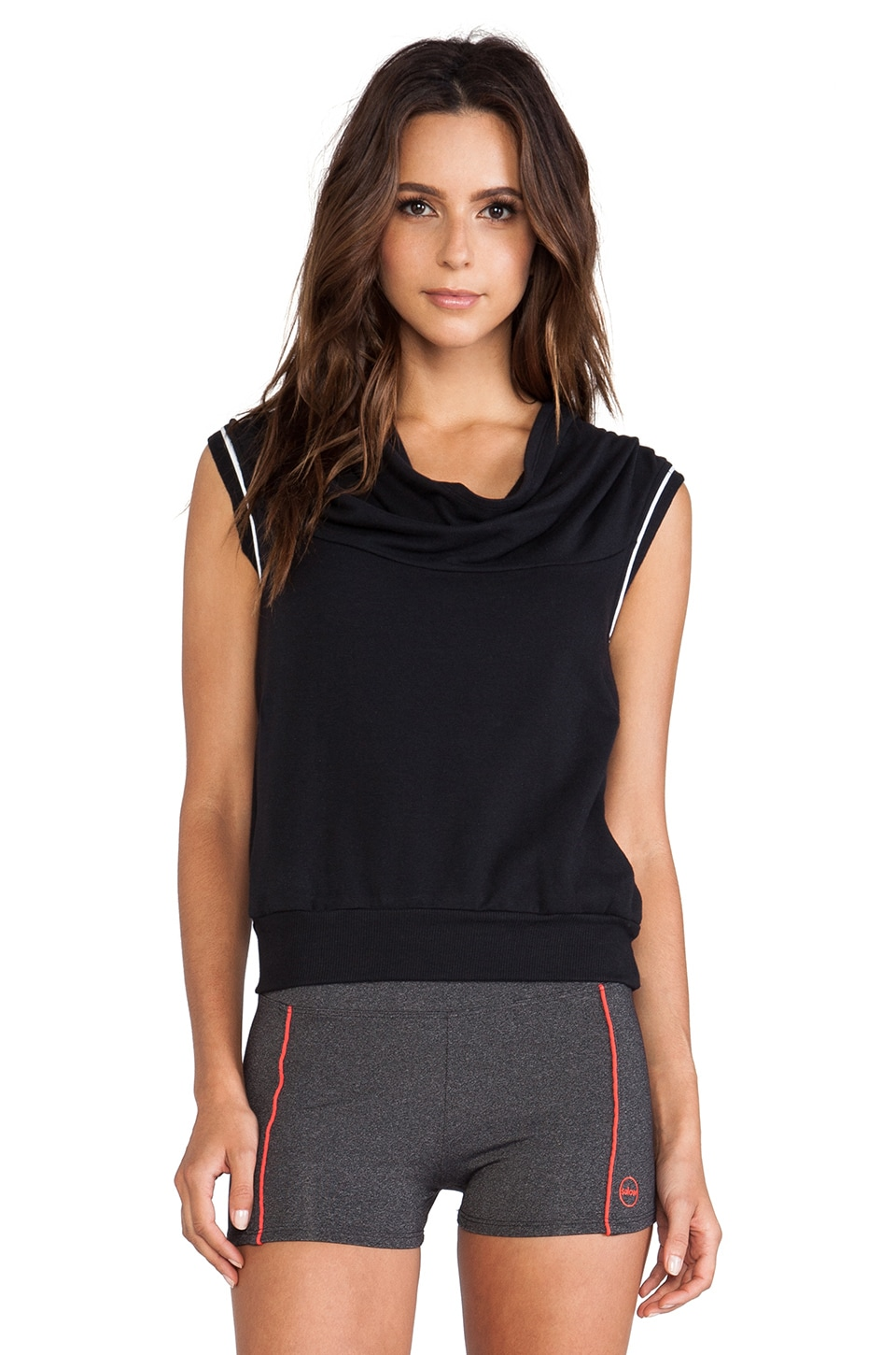 SOLOW So Low Sleeveless Draped Hoodie in Black & White