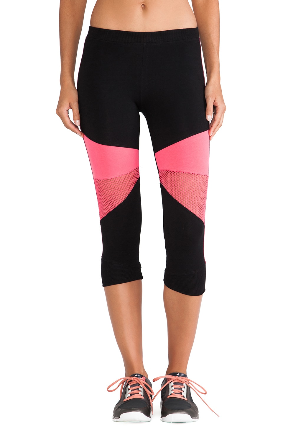 SOLOW Crop Mesh Legging in Black & Electric