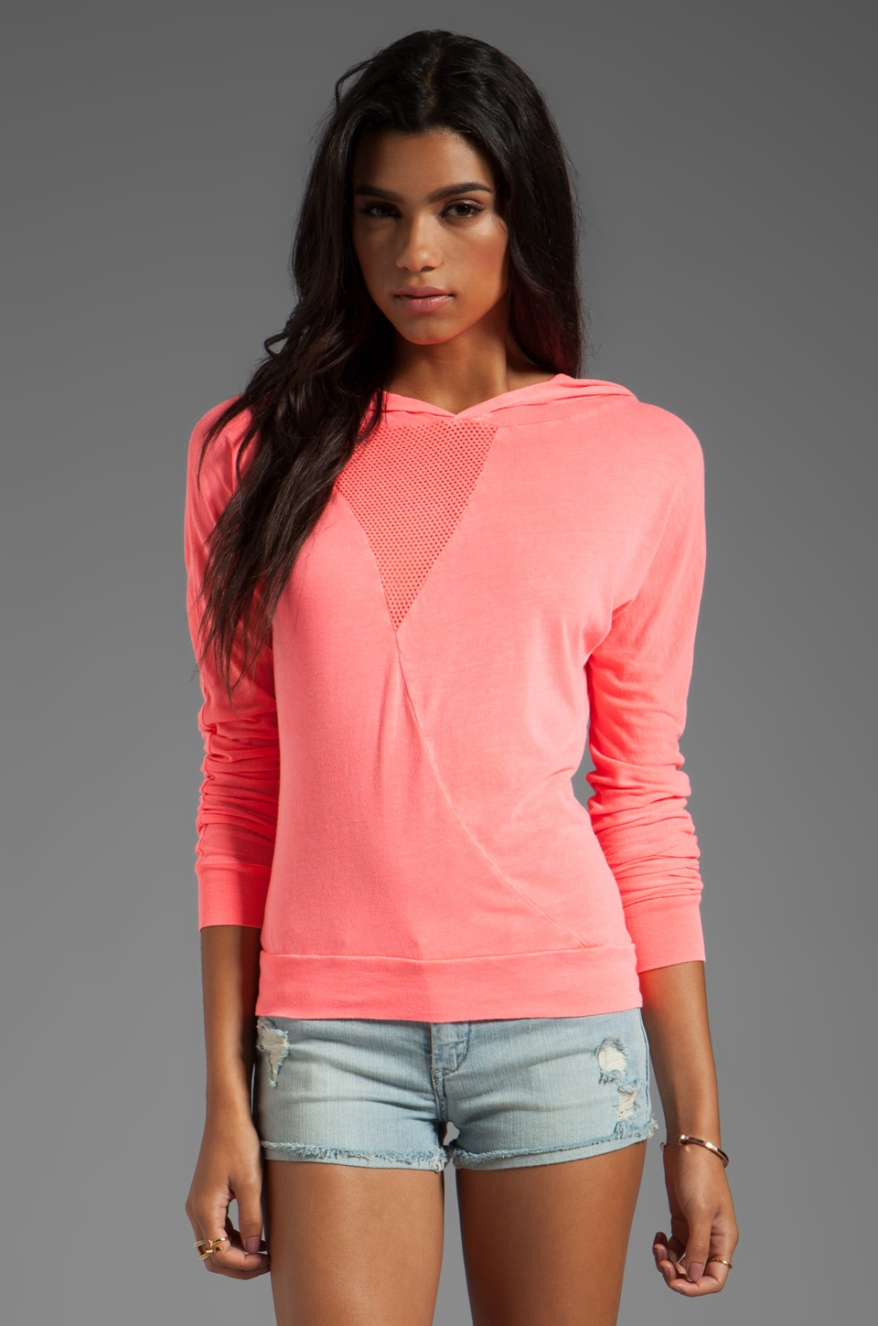 SOLOW Graphic Mesh Dolman Pull Over in Mimosa