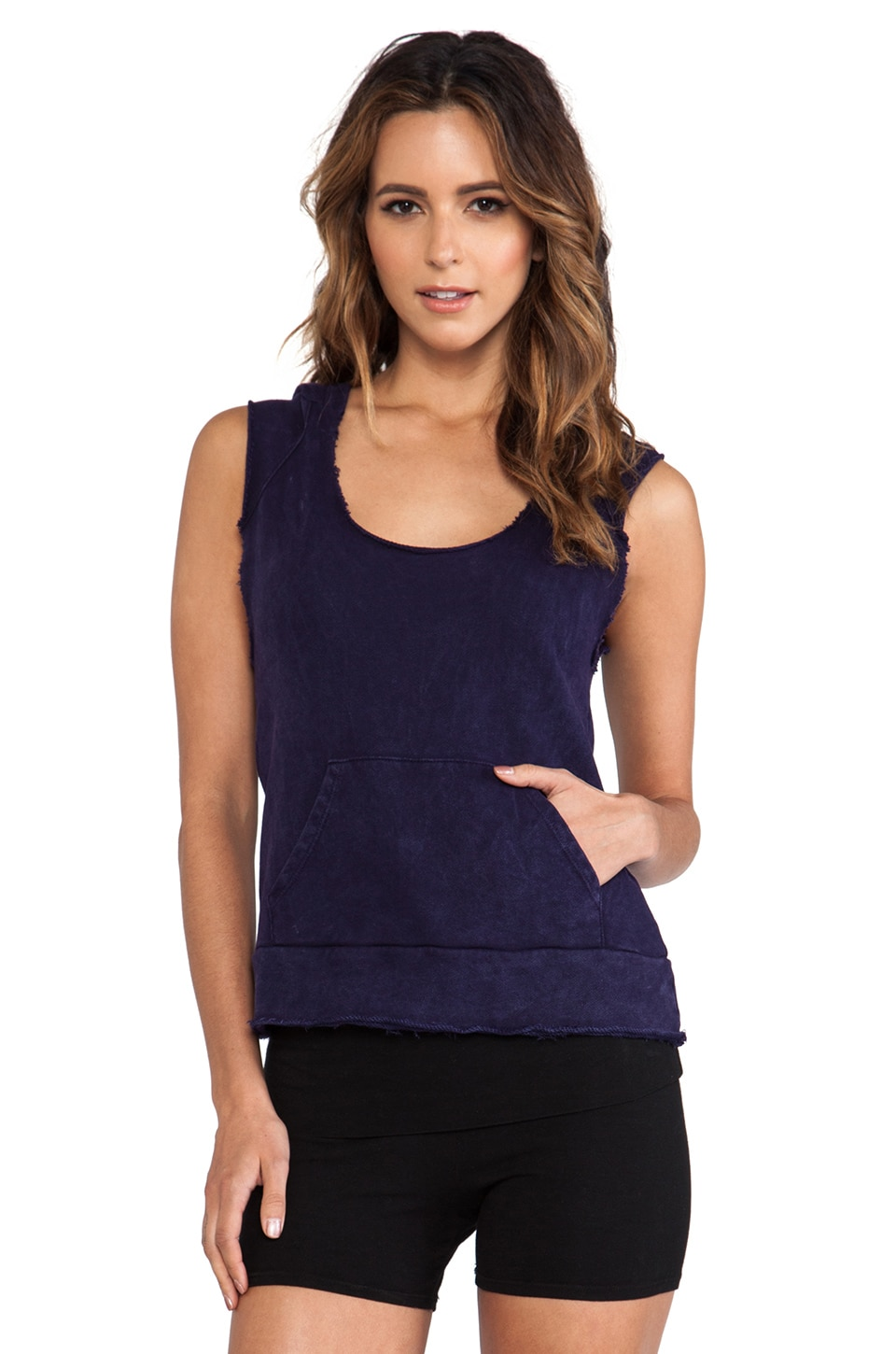 SOLOW Raw Edge Sleeveless Hoodie in Navy