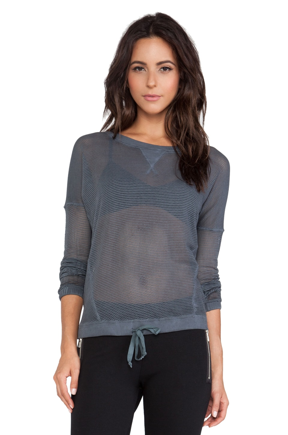 SOLOW So Low Mesh Sweatshirt in Black