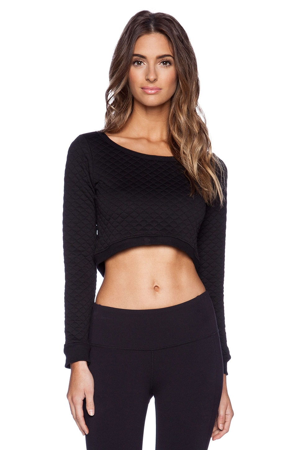 SOLOW Quilted Cropped Sweatshirt in Black