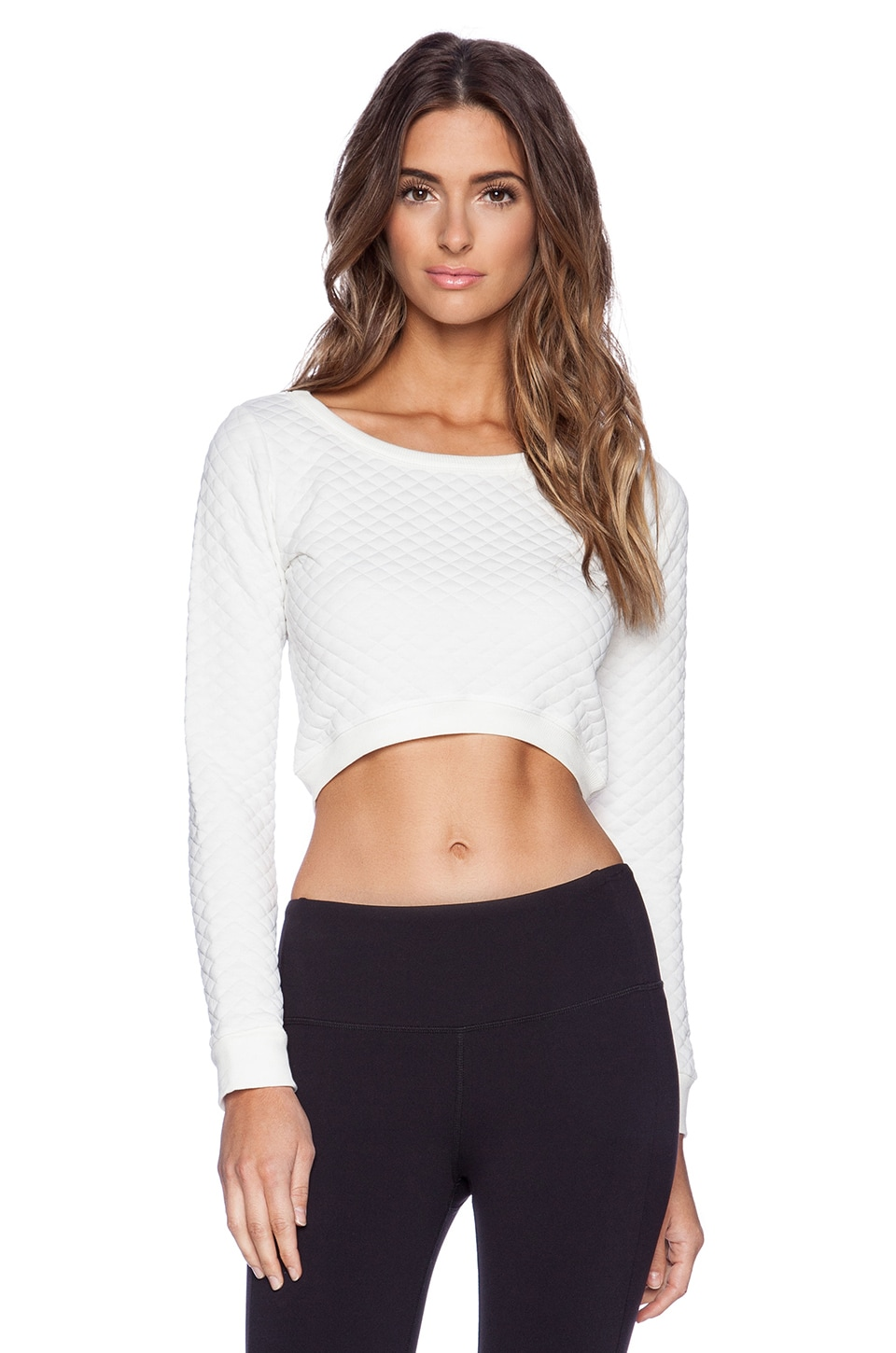 SOLOW Quilted Cropped Sweatshirt in Snow