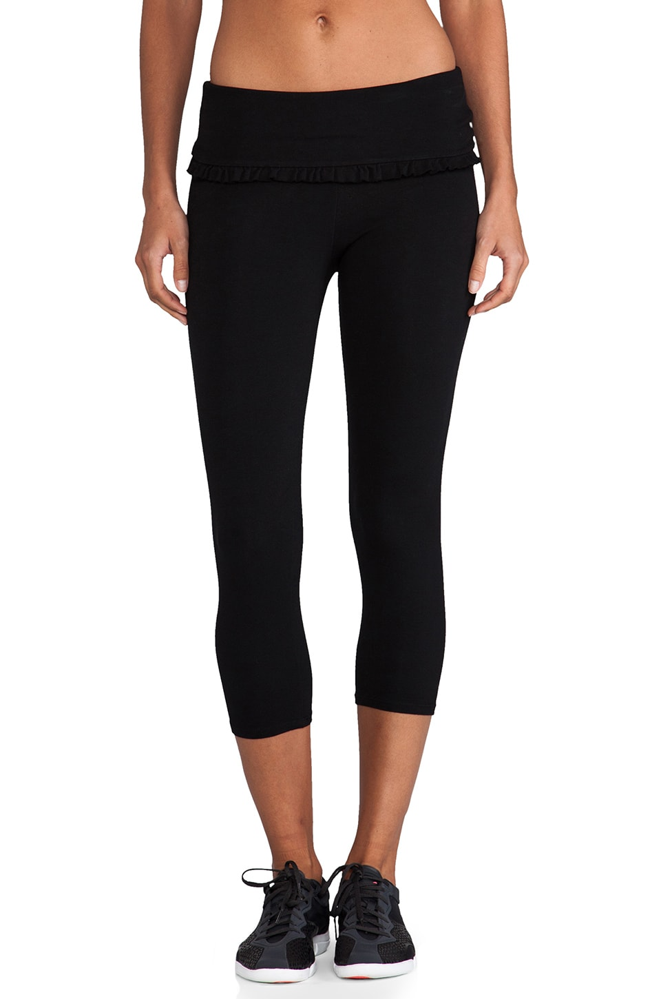 SOLOW Basics Ruffles Fold Over Crop Pant in Black