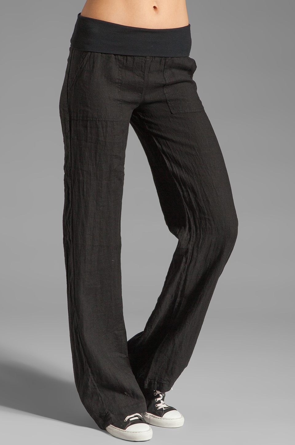 SOLOW Linen Pant in Black